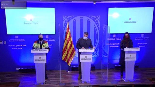 Roda de premsa del conseller d'Interior, Miquel Sàmper, sobre el temporal 'Filomena'.