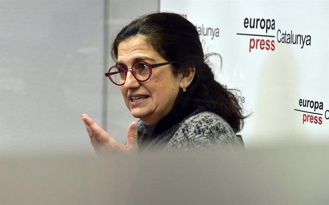 La candidata d'En Comú Podem per Girona, Rosa Lluch, en una entrevista amb Europa Press, a Barcelona, Catalunya (Espanya), 5 de gener de 2021.