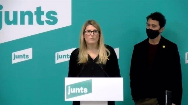 Roda de premsa de la vicepresidenta de JxCat, Elsa Artadi, i el conseller Damià Calvet.