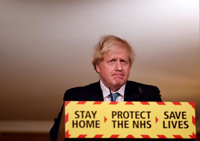 07 January 2021, England, London: British Prime Minister Boris Johnson holds a media briefing on the coronavirus (COVID-19), at 10 Downing Street. Photo: Tolga Akmen/PA Wire/dpa