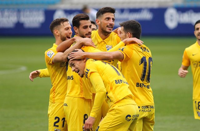 Yanis Rahmani of Malaga CF celebrates a goal during the spanish league, Liga Smartbank, football match played between SD Ponferradina and Malaga CF at El Toralin stadium on November 15, 2020, in Ponderada, Leon, Spain.