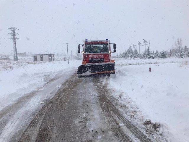 Nieve en las carreteras turolenses.