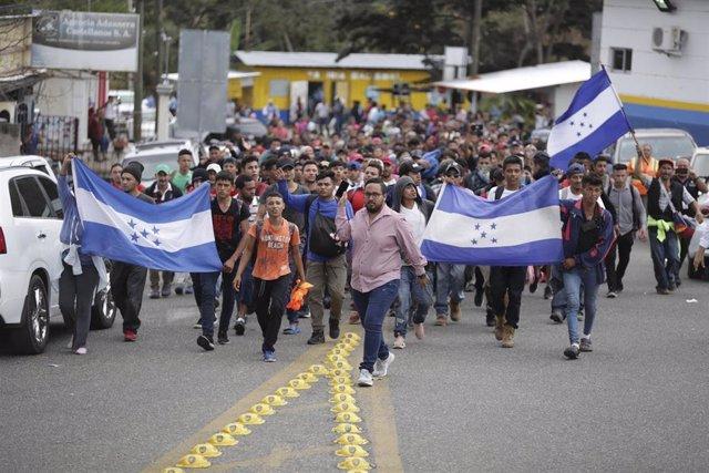 Caravana de migrantes en Honduras