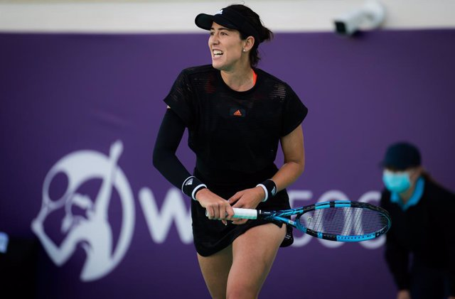 Garbine Muguruza of Spain in action during her second round match at the 2021 Abu Dhabi WTA Womens Tennis Open WTA 500 tournament against Aliaksandra Sasnovich of Belarus