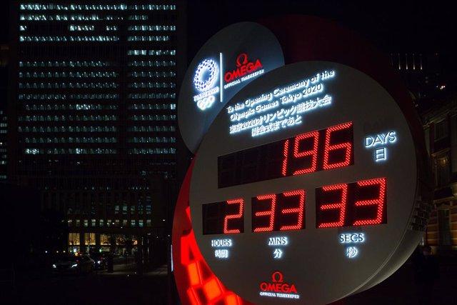 08 January 2021, Japan, Tokyo: A view of the countdown clock of Tokyo 2020 Olympic Games/Omega at Marunouchi Central Square. Photo: Stanislav Kogiku/SOPA Images via ZUMA Wire/dpa