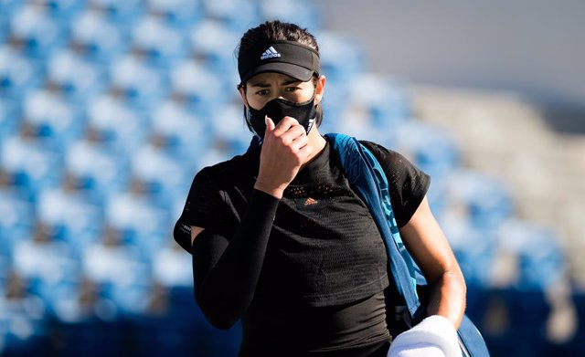 Garbine Muguruza of Spain in action during her third round match at the 2021 Abu Dhabi WTA Womens Tennis Open WTA 500 tournament against Maria Sakkari of Greece