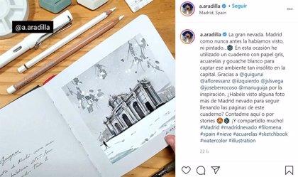 'La gran nevada ilustrada': El cuaderno en acuarela del paso de Filomena por Madrid