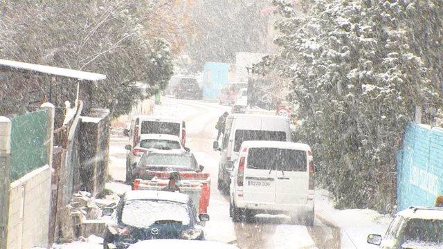 Imagen de la nevada en la Cañada Real Galiana (Madrid).