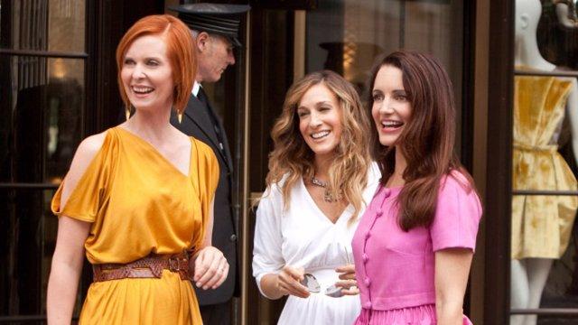 Cynthia Nixon, Sarah Jessica Parker, Kristin Davis en una foto de la película de Sexo en Nueva York