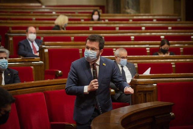 El vicepresident de la Generalitat i coordinador nacional d'ERC, Pere Aragonès, intervé al Parlamenta. Catalunya, 16 de desembre del 2020.