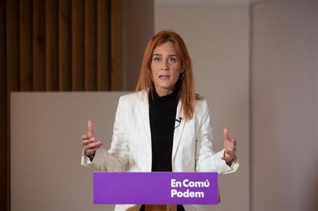 La candidata d'En Comú Podem a la presidència de la Generalitat, Jéssica Albiach, durant una trobada digital d'Europa Press. Catalunya (Espanya), 11 de gener del 2020.
