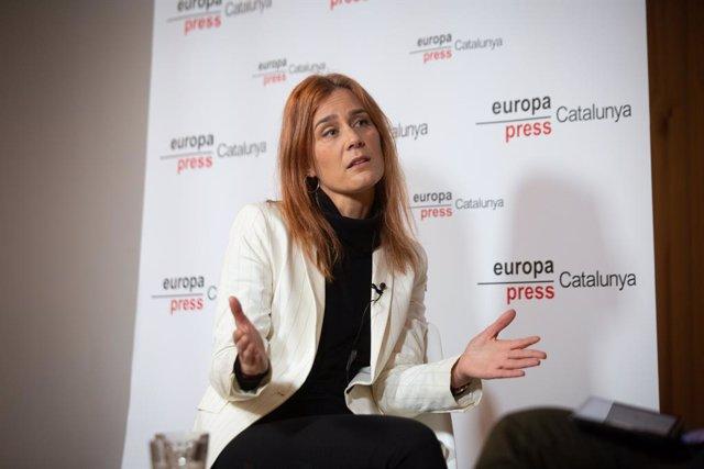 La candidata d'En Comú Podem a la Presidència de la Generalitat de Catalunya, Jéssica Albiach, durant una Trobada Digital d'Europa Press, a Barcelona, Catalunya (Espanya), a 11 de gener de 2020.