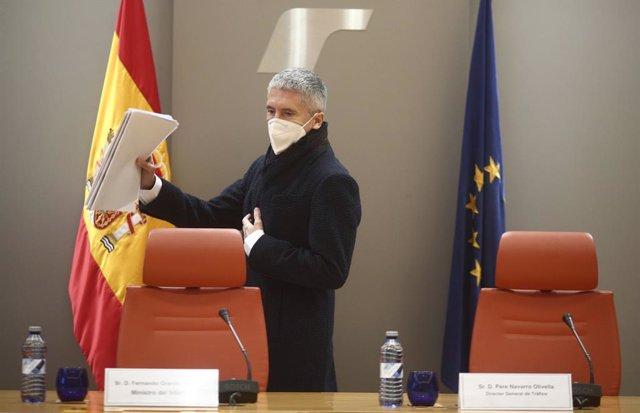 El ministre d'Interior, Fernando Grande-Marlaska, en la presentació del balanç de sinistralitat del 2020