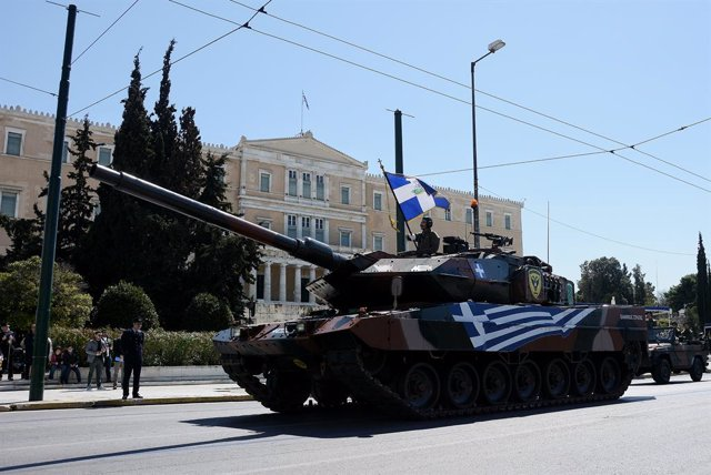 25 March 2019, Greece, Athens: A tank of the Greek Army rolls during a military parade to mark the Greek Independence Day, which commemorates the Greek War of Independence against the Ottoman Empire. Photo: Giorgos Zachos/SOPA Images via ZUMA Wire/dpa
