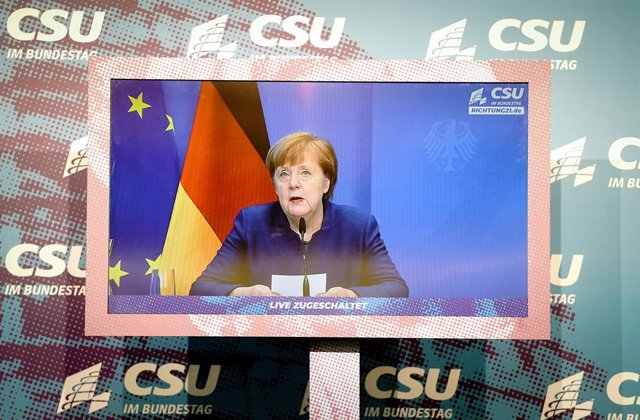 07 January 2021, Berlin: German Chancellor Angela Merkel makes a statement on the storming of the US Capitol by Trump supporters in Washington at the beginning of the digital press conference during the winter retreat of the CSU parliamentary group in the