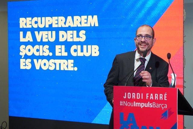 El precandidato a la presidencia del FC Barcelona Jordi Farré