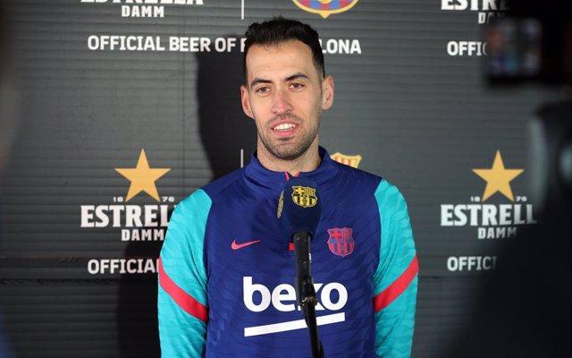El jugador del FC Barcelona Sergio Busquets, en declaraciones a Barça TV+ por sus 600 partidos con el club blaugrana