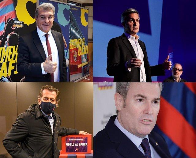 Los cuatro precandidatos con opciones a ser candidatos a la presidencia del FC Barcelona el 24 de enero de 2021: Joan Laporta, Víctor Font, Toni Freixa y Emili Rousaud (de arriba abajo e izquierda a derecha)