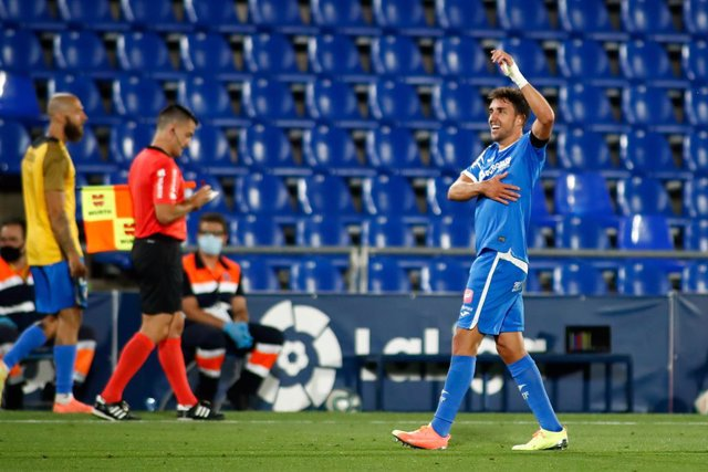 Jaime Mata of Getafe celebrates a goal during the spanish league, LaLiga, football match played between Getafe CF and Real Sociedad at Coliseum Alfonso Perez Stadium on June 29, 2020 in Getafe, Madrid, Spain.