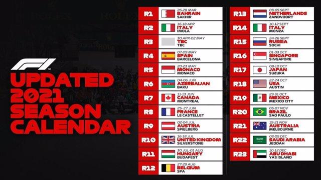 Calendario revisado de la Fórmula 1