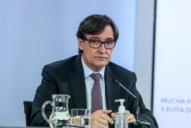 El ministre de Sanitat, Salvador Illa, en la roda de premsa posterior al Consell de Ministres. Madrid, (Espanya), 12 de gener del 2020.