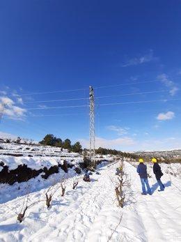 Técnicos de Endesa trabajando en la red eléctrica durante el temporal Filomena