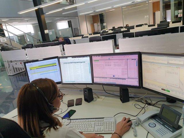Sala d'emergències del 112 en una foto de recurs