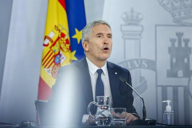 El ministro de Interior, Fernando Grande-Marlaska durante una rueda de prensa convocada ante los medios posterior al Consejo de Ministros, en La Moncloa, Madrid, (España), a 12 de enero de 2020.