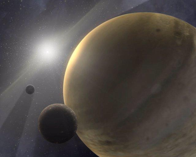 Representación artística de un sistema estelar de 10 millones de años con un planeta gigante gaseoso como Júpiter