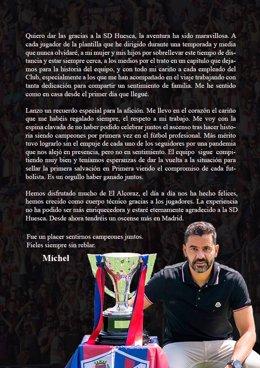 """Míchel tilda de """"maravillosa"""" su etapa en Huesca en una carta de despedida tras su cese"""