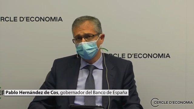 El governador del Banc d'Espanya, Pablo Hernández de Cos, aquest dimarts en una sessió del Cercle d'Economia
