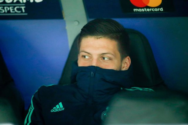 Luka Jovic of Real Madrid looks on during the UEFA Champions League football match played between Real Madrid and Manchester City at Santiago Bernabeu stadium on January 26, 2020 in Madrid, Spain.