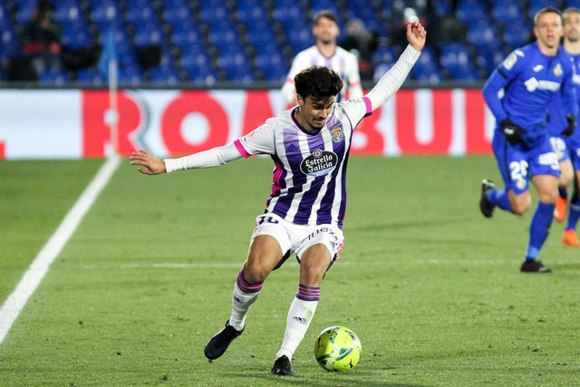 "Joao Pedro Neves ""Jota"" in action during La Liga football match played between Getafe CF and Real Valladolid CF at Coliseum Alfonso Perez on January 02, 2021 in Getafe, Madrid, Spain."