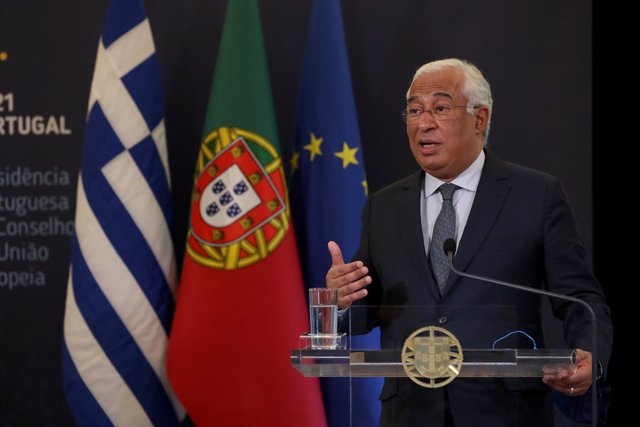 11 January 2021, Portugal, Lisbon: Portuguese Prime Minister Antonio Costa and Greek Prime Minister Kyriakos Mitsotakis (not pictured) hold a joint press conference after their meeting at the Sao Bento Palace. Photo: Pedro Fiuza/ZUMA Wire/dpa