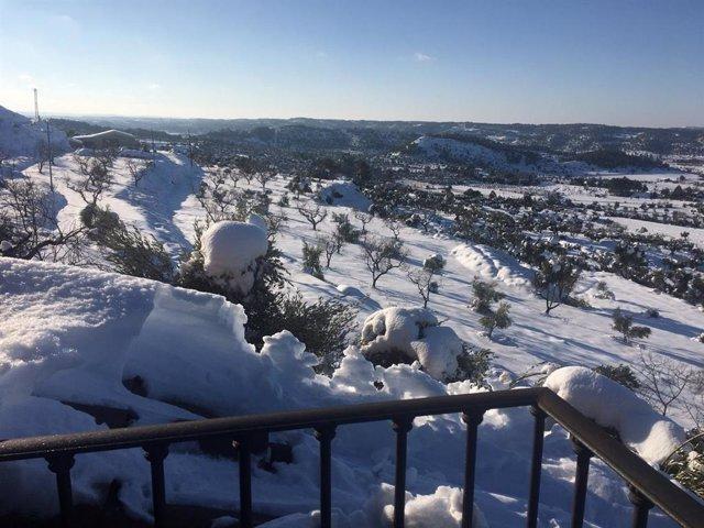 Vista del municipi d'Horta de Sant Joan (Tarragona) després del temporal Filomena.