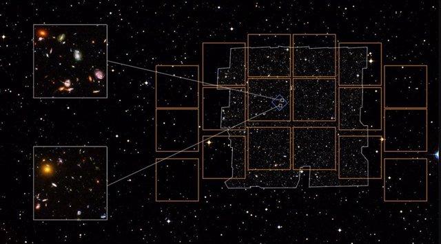 """Esta imagen compuesta ilustra la posibilidad de una observación de """"campo ultraprofundo"""" del Telescopio Espacial Roman"""