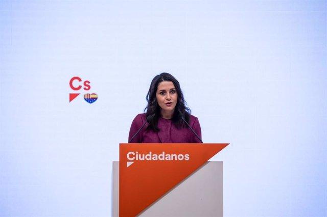 La líder de Cs, Inés Arrimadas.