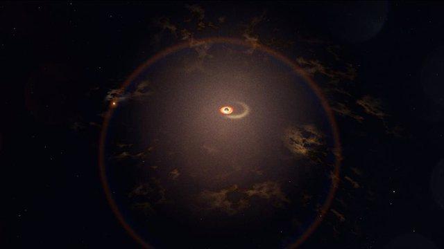 Recreación de la galaxia activa que registra erupciones regularmente cada 114 días