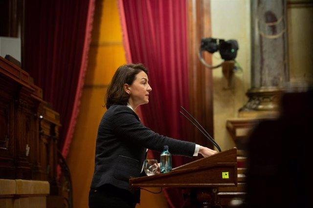 La vice-primera secretària del PSC, Eva Granados, durant la seva intervenció en la Diputació Permanent del Parlament