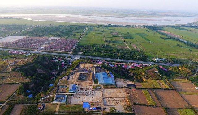Vista aérea del sitio de Shuanghuaishu en Zhengzhou, provincia de Henan en China central