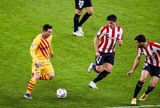 Lionel Messi of FC Barcelona during the Spanish league, La Liga Santander, football match played between Athletic Club and FC Barcelona at San Mames stadium on January 6, 2021 in Bilbao, Spain.