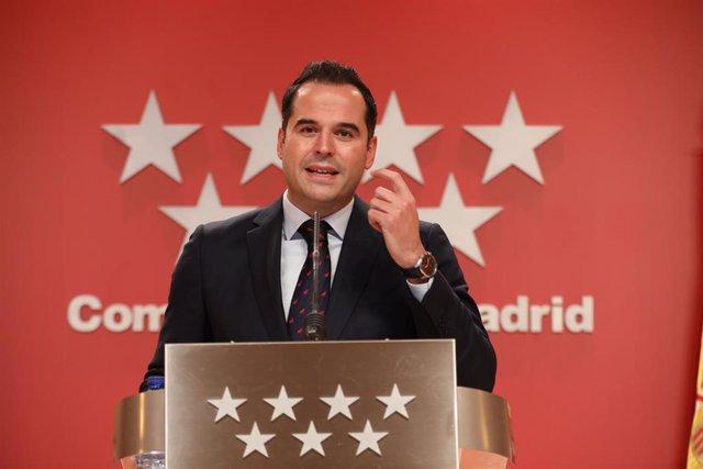 El vicepresidente, consejero de Deportes, Transparencia y portavoz de la Comunidad de Madrid, Ignacio Aguado