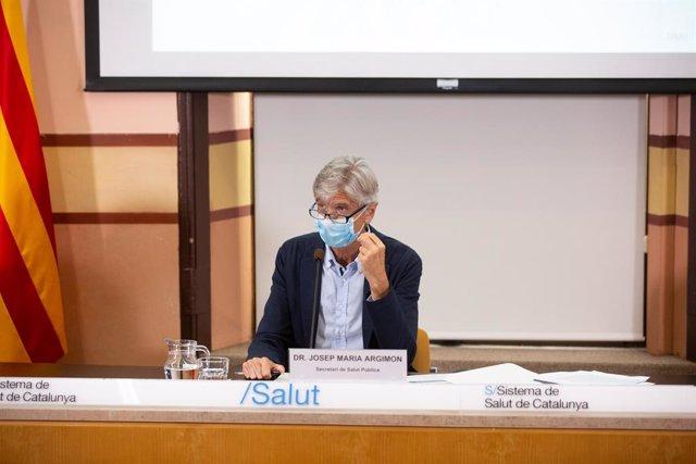 El secretari de Salut Pública de la Generalitat, Josep Maria Argimon, en una roda de premsa a la Conselleria de Salut. Catalunya (Espanya), 22 de setembre del 2020.