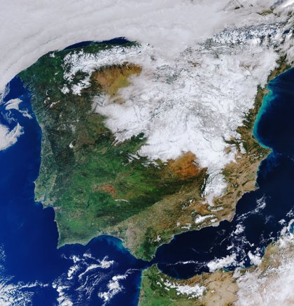 La ESA difunde la imagen de España cubierta de nieve tras el paso de 'Filomena'