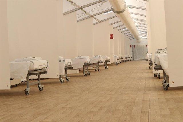 Llits habilitats en un dels tres hospitals de campanya