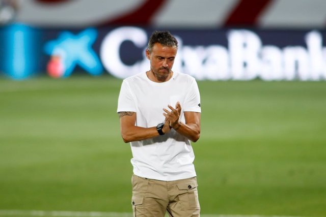 Luis Enrique, head coach of Spain, gestures during the Nations League football match played between Spain and Ukraine at Alfredo Di Stefano stadium on september 06, 2020 in Valdebebas, Madrid, Spain.