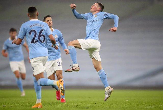 Phil Foden celebra el gol del triunfo del Manchester City