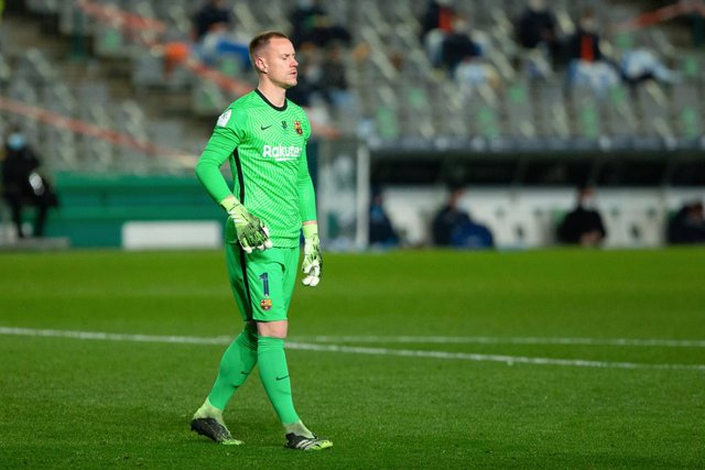 Marc Andre ter Stegen of Barcelona during the Spanish SuperCup First Semifinal between Real Sociedad and Futbol Club Barcelona at Nuevo Arcangel stadium on January 13, 2021 in Cordoba, Spain.