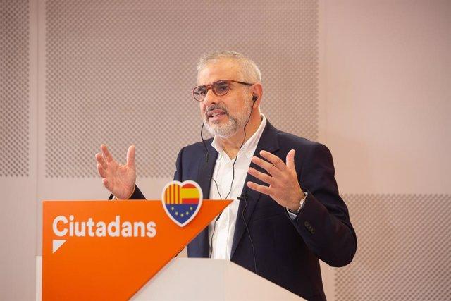 El candidat de Ciutadans a la presidència de la Generalitat en una trobada digital d'Europa Press. Catalunya (Espanya), 14 de gener del 2021.