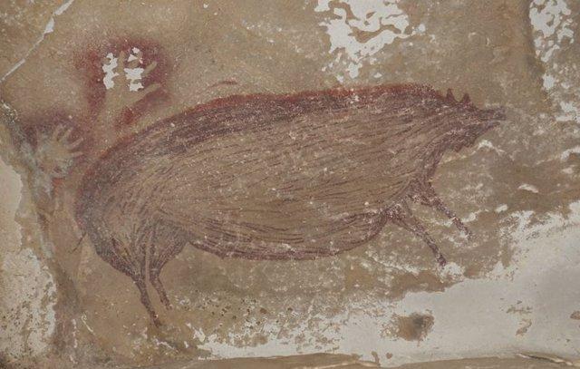 Pintura rupestre de 45.500 años en Indonesia